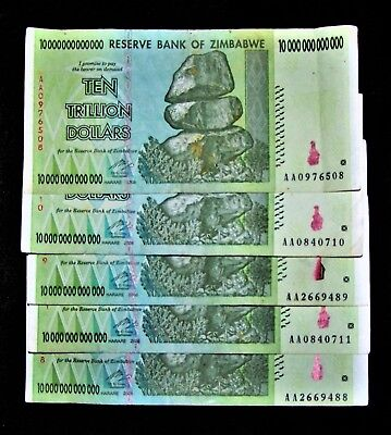 5 x Zimbabwe10 Trillion Dollar banknotes/AA/2008-collectible currency