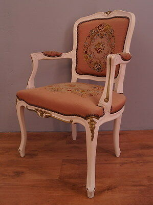 805 !! Superb Shabby Chic French  Armchair In Louis Xv Style !!