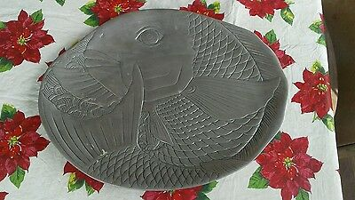 VINTAGE Pewter METAL KOI GOLD FISH CARP SERVING TRAY PLATTER 16 x 13 inches