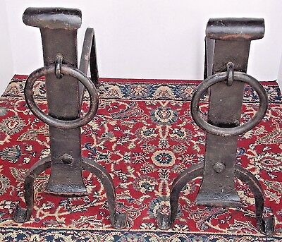 """Vintage Arts & Crafts Forged Wrought Iron 17-1/2"""" H.  Fireplace Andirons (Pair)"""