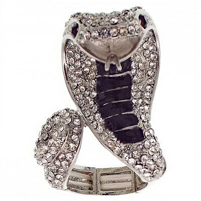 Poison Cobra Snake Serpent Cocktail Ring Costume Jewelry Black Clear Halloween
