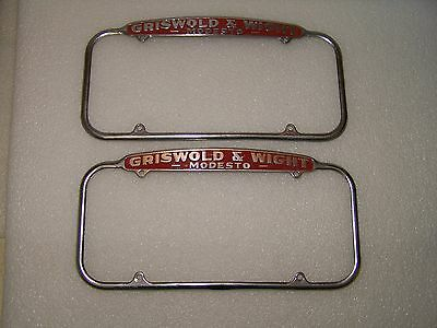Original License Plate Frames Griswold & Wight Ford Modesto CA. 1940's Topper