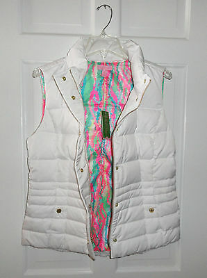Nwt Lilly Pulitzer Resort White Isabelle Puffer Vest Down Feathers  L  $198