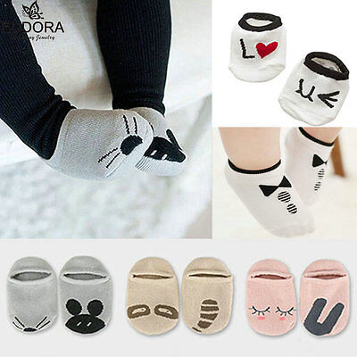 Cotton Unisex Baby Kids Toddler Girl Boy Anti-Slip Socks Slipper 0-12 Months