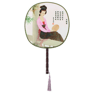Fabric Round Shaped Chinese Ancientry Style Handmade Hand Fan for lady