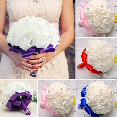 Elegant Artificial Rose Bridal Bridesmaid Flower Girl Wedding Bouquet White