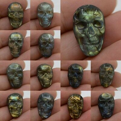 22mm  Carved labradorite skull cab cabochon *each one picture*