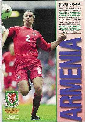 Wales v Armenia - World Cup Qualifier 1 Sep 2001 FOOTBALL PROGRAMME