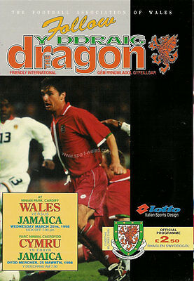 Wales v Jamaica - friendly 25 Mar 1998 Ninian Park  FOOTBALL PROGRAMME