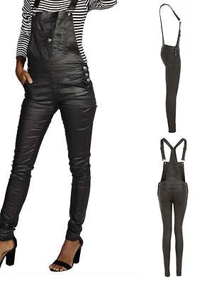 Womens Faux Leather Black Skinny Wet Oil Look Wax Dungaree Straps Trousers