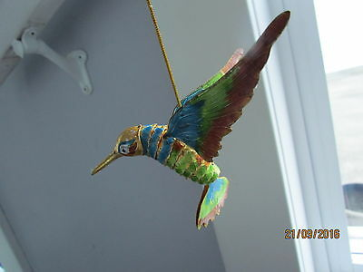 Cloisonne Enamel on Brass Articulated Hanging Hummingbird Moving Body