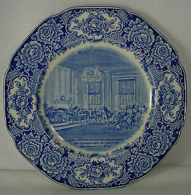 """CROWN DUCAL china GEORGE WASHINGTON blue DINNER PLATE 10-3/8"""" Commander-in-Chief"""