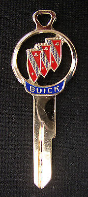 Rare Vintage Red BUICK Tri Shield Gold Silhouette Key NOS 1948 1949 1950 1951