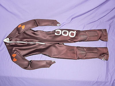 POC Brown Padded GS Speed Suit One Piece Ski Race Racing Size 150 ❅