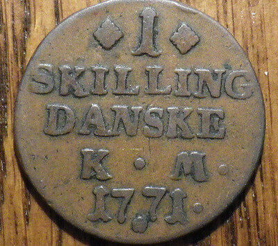 1771 Denmark 1 Skilling - LARGER COIN - Very Nice LOOK