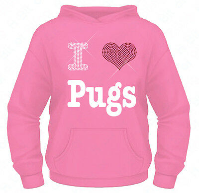 Girls Diamante / Rhinestone I Love ( heart ) Pugs hoodie 5-13 Yrs Bling Gift