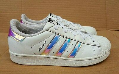 ADIDAS 2 SUPERSTAR HOLOGRAPHIC Trainers Größe 2 ADIDAS Uk Stores Sold Out 7273b8
