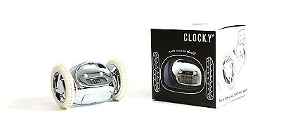 Fun Novelty Chrome Digital Running Alarm Clock With Moving Wheels Bedroom Gadget