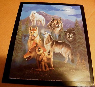"""9x11"""" Wooden Lodge Primitive Wolf Gray White Brown Wolves Wildlife Decor Sign"""