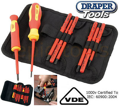 Draper 10 Pce VDE Pz / Ph / Sl Isolé Interchangeables Lame Set de Tournevis