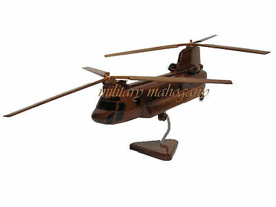 CH-47 CH-47D CH-47F Boeing Chinook Army Helicopter Mahogany Wood Wooden Model