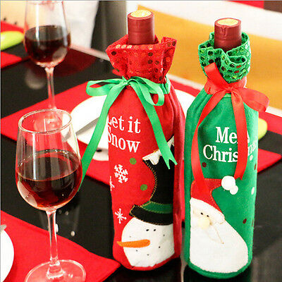 Red Wine Bottle Cover Gift Bag Christmas Santa Decoration Dinner Home Party AU