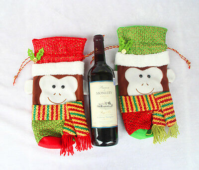 Christmas monkey Suit Costume Wine Bottle Gift Wrap Cover Pouch Bag Decoration M