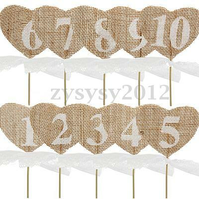 Hessian Burlap Heart Wedding Party Table Numbers 1-10 Vintage Rustic Shabby Chic
