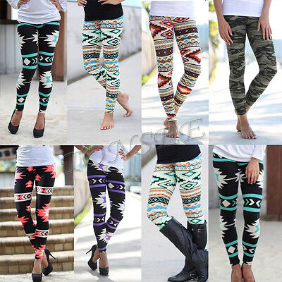 Women's Colorful Print Leggings Stretchy Casual Vintage Slim Skinny Pencil Pants