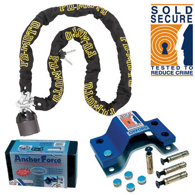 Motorcycle Chain Lock 1.2M + Oxford Anchor Force Ground Anchor SOLD SECURE Gold