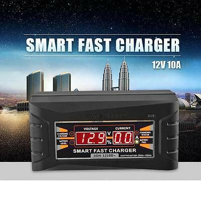 12V 10A Smart Intelligent Fast Battery Charger LCD Display For Car Motorcycle
