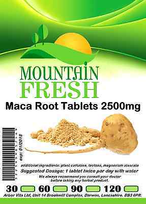 Maca Root 2500mg x 365 1 YEARS Supply All Natural Tablets Max Strength
