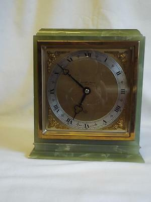 "Superb large 8.5"" vintage Elliott green onyx Mantel Clock.gwo"