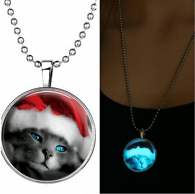 2019 Steampunk Luminous Glow in the Dark Pendant Necklace Charm Cat Xmas Jewelry