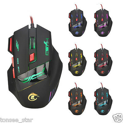 Professional 7 Buttons 5500DPI USB Optical Wired Gaming Mouse Mice For PC Laptop