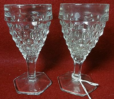 """FOSTORIA crystal AMERICAN 2056 pattern #024 Set of Two (2) Wine Goblets - 4-1/2"""""""