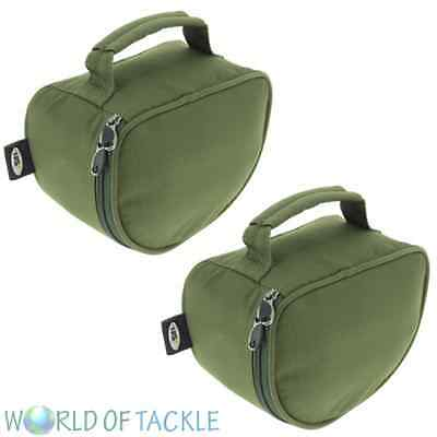 2 x New Deluxe Padded Fishing Reel Cases / Bags XL for Large Carp Pike Reels