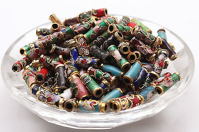 Wholesale Cloisonne Enamel Tubular spacer loose Beads Jewelry Making 9*3mm