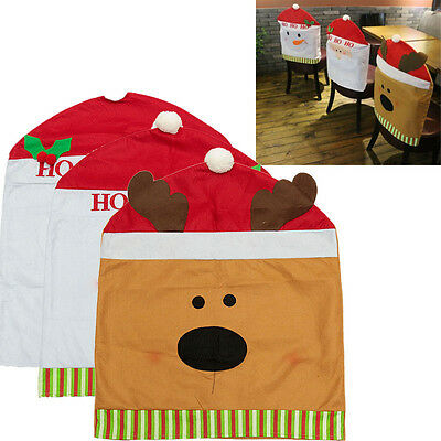 Christmas Dinner Decorations Chair Hat Back Covers Santa Clause Snowman Elk Hot