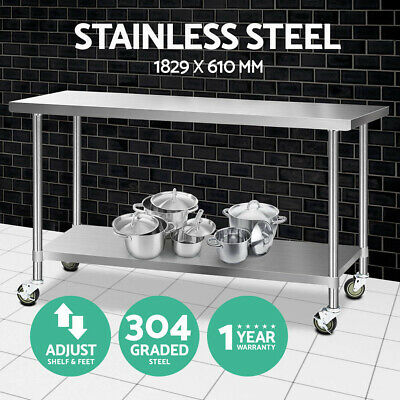 1829x610mm Commercial 304 Stainless Steel Work Bench Food Prep Table + Castors