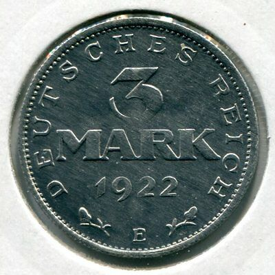 Weimarer Republik 3 Mark 1922 E vz/st (1)