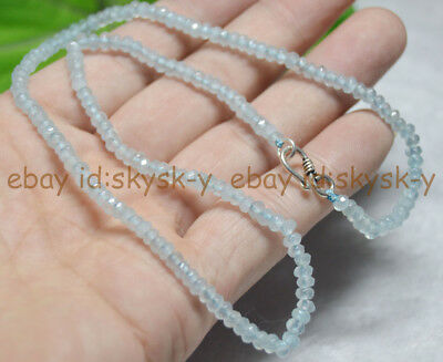 Fine 2x4mm Light Aquamarine Faceted Roundel Gems Beads Necklace Silver Clasp AAA