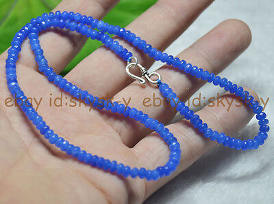 Fine 2x4mm Light Sapphire Faceted Roundel Gems Beads Necklace Silver Clasp AAA