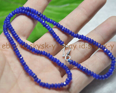 Fine 2x4mm Dark Sapphire Faceted Roundel Gems Beads Necklace Silver Clasp AAA