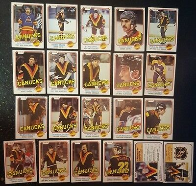1981-82 OPC VANCOUVER CANUCKS Select from LIST NHL HOCKEY CARDS O-PEE-CHEE