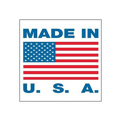 """Tape Logic Labels, """"Made in U.S.A."""", 1""""x1"""", Red/White/Blue, 500 PER ROLL"""