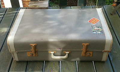 Vintage 1950s SKYLINE Suitcase with Travel Labels. Grey/ White Stripe. VGC/ Prop