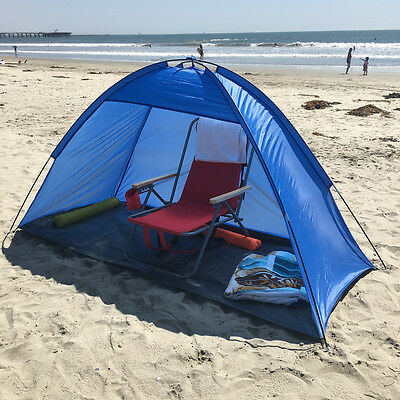 Blue 2 person people Pop Up Cabana Beach Shelter Baby Tent Sun Shade Outdoor UV