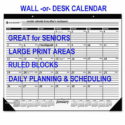 2x 2017 LARGE PRINT Wall Desk Calendar RULED At A Glance appointment schedule