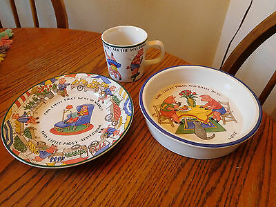 Tiffany & Co - Five Little Pigs Childs Dinner Set - 3 Pieces - 1992 ~ECU~FREES&H